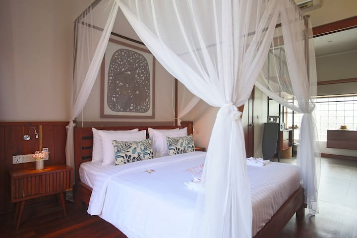 Each bedroom designed with mosquito net
