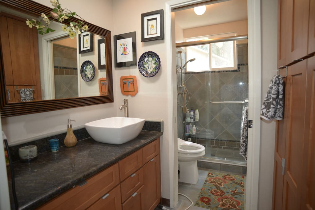 Private bathroom with walk-in shower.  Bidet with hot water and heated seat.