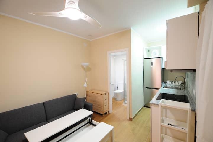 Habitación1/estudio con cocina y baño indepen, A/A