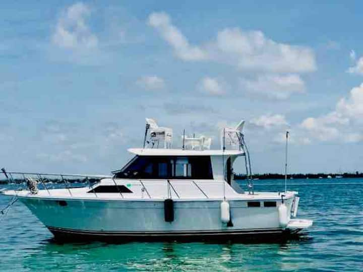 Your own private boat anchored out on the water