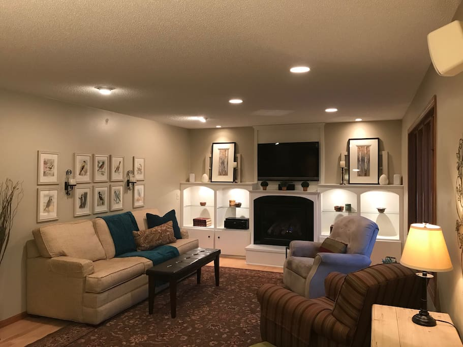 Family Room with Gas Fireplace.  Cable TV.  Sleeper Sofa with Upgraded Air Mattress.
