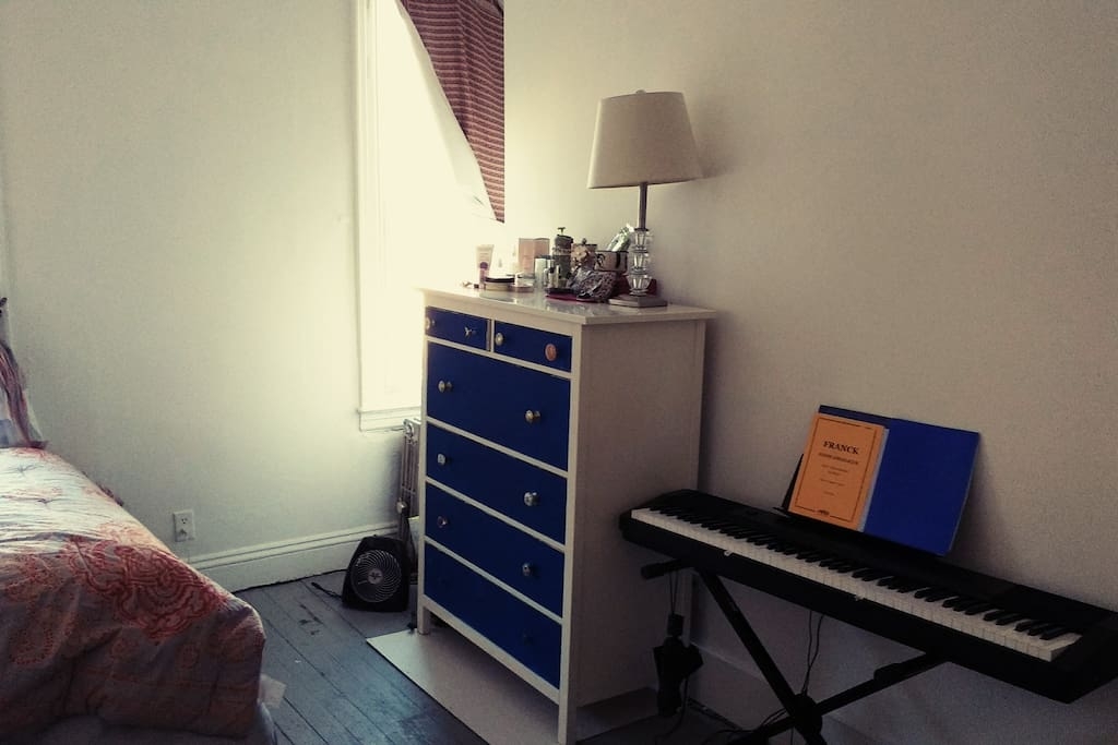 Piano can be there or not. Lots of drawers space.