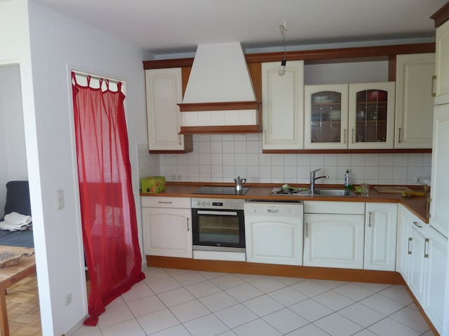 Fully equipped kitchen with oven,  4 electric cooktops and dish washer