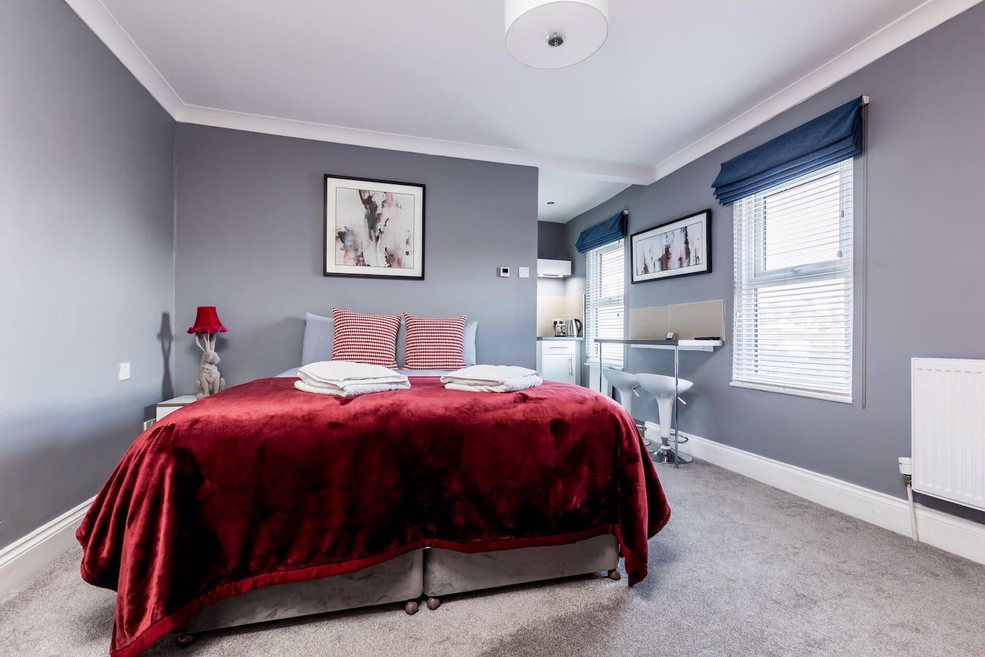 Bedroom leading to studio and wet room