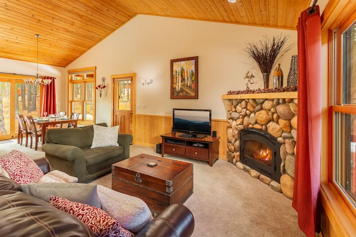 Large, open living room with high ceiling, sleeper sofa and gas fireplace
