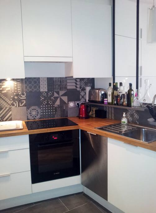 Kitchen with oven, induction cooker, dish-washer, boiler...
