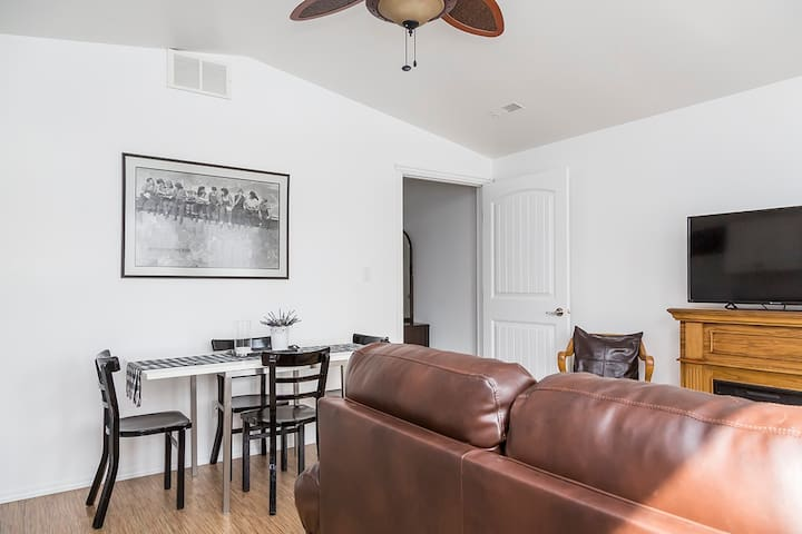 Spacious living area with all the touches to make you feel right at home.