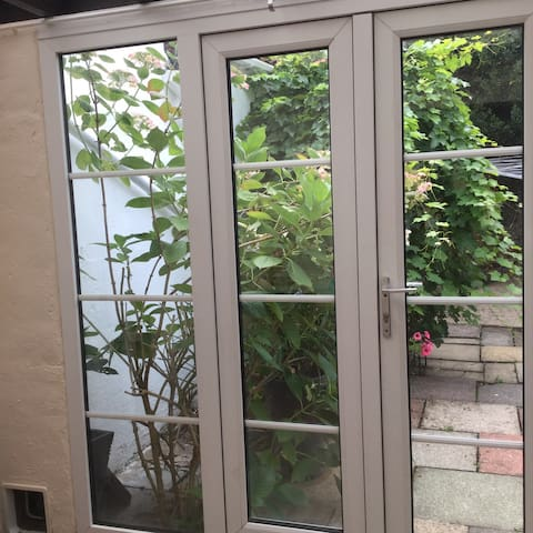 Patio doors to enclosed courtyard