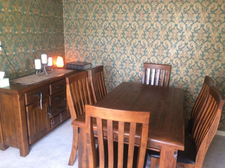 Dining Room with buffet table and refrigerator in there