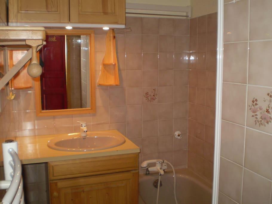 salle de bains avec baignoire, sèche serviette électrique