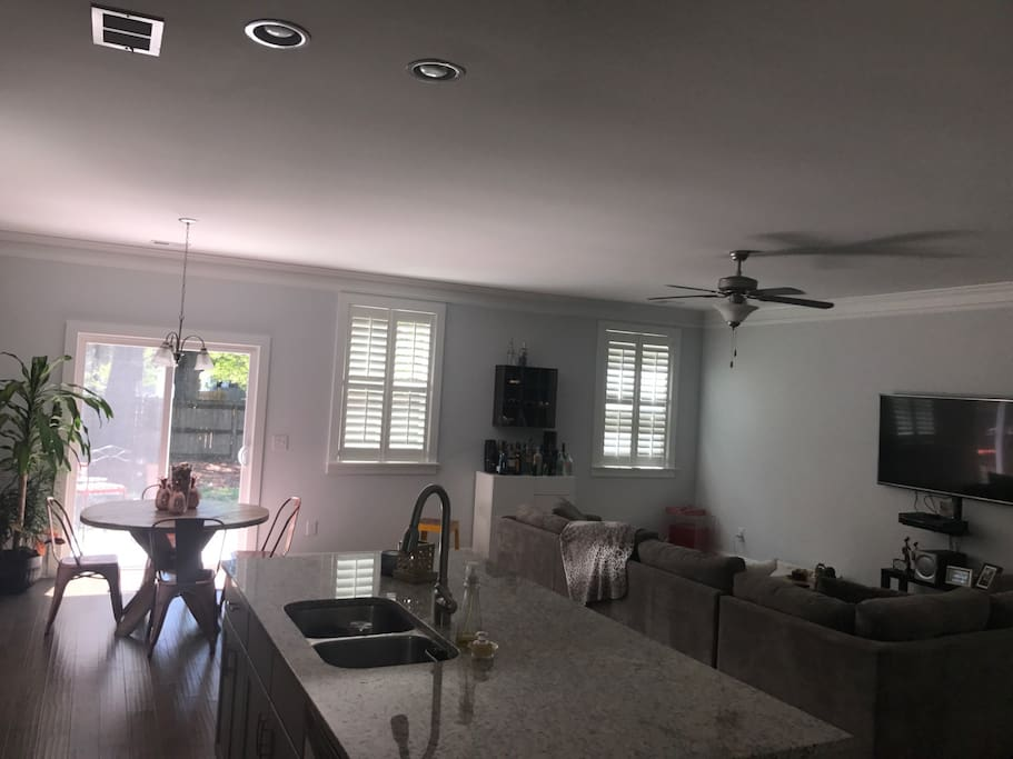 Spacious and Open with plenty of natural lighting.   Plantation shutters allow you to control the amount of light coming in!!!