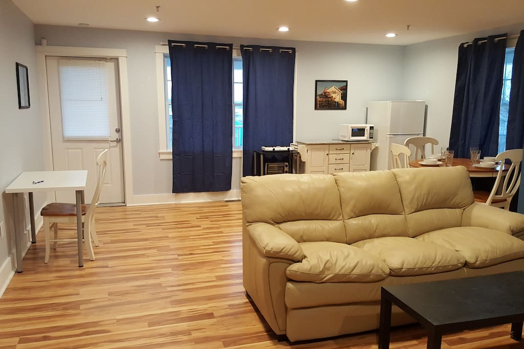 Spacious and bright. Includes room darkening window treatments for privacy.