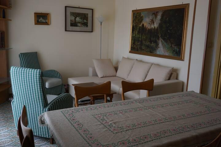Salotto con televisione, sala pranzo e balconcino