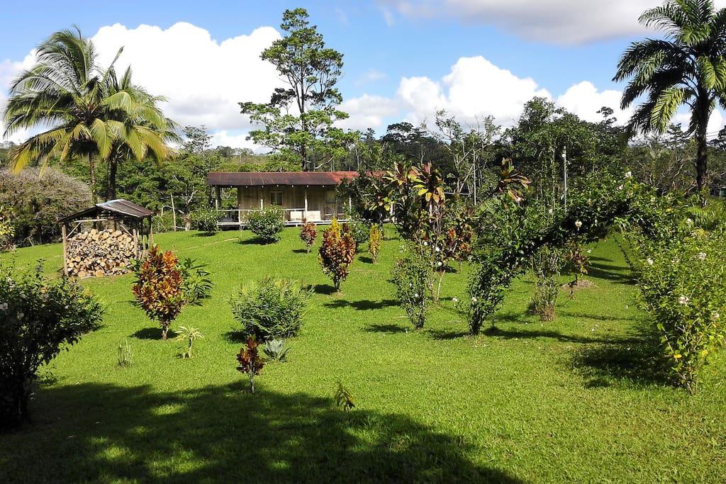 Casa con jardín,3 habitaciones 2 banos completos.