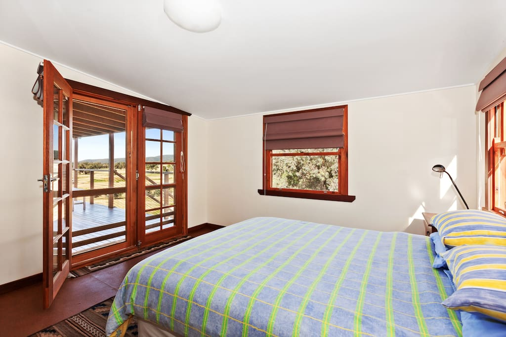 Queen bedroom with olive grove views