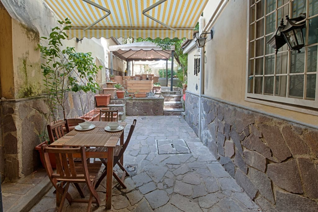 Garden with outdoor dining table