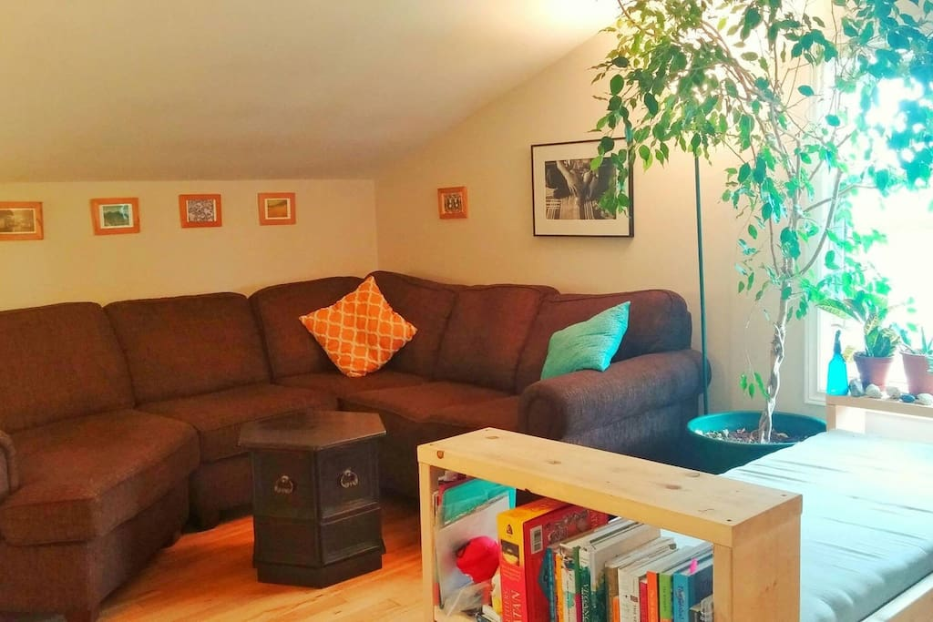 The most comfortable sofa in the world sleeps two, or sits five to six. Homemade day bed has comfy memory foam seating, and houses our board games and cookbooks.