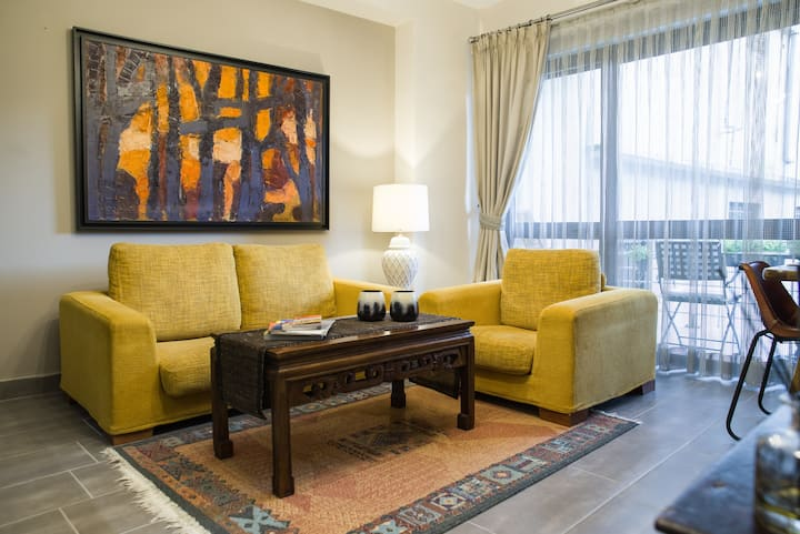Luxury apt in city center w/AC and secure parking