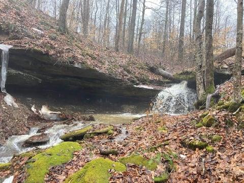 Peaceful waterfall/ravine retreat on 35 acres.