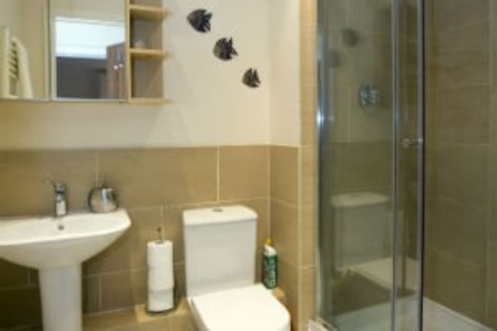 The spacious family bathroom is ideal for a group or small family with a large shower cubicle and luxury bathroom fittings