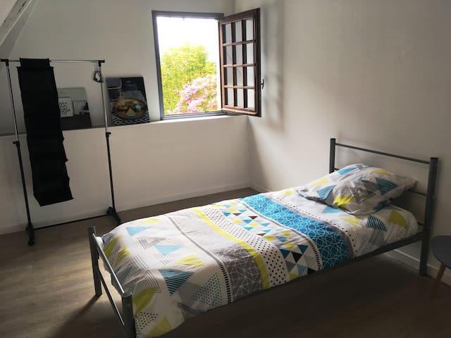 Chambre 1: - Deux lits en 90 cm /200 cm  - 1 Bureau - vue sur parc arboré et Pyrénées