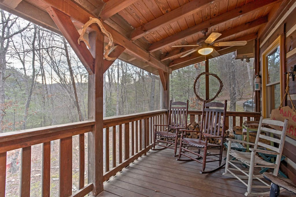 Spend your days lounging on the deck complete with rocking chairs.