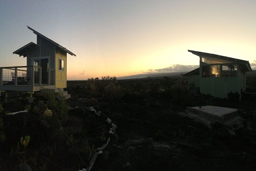 sunset with cabins in view.