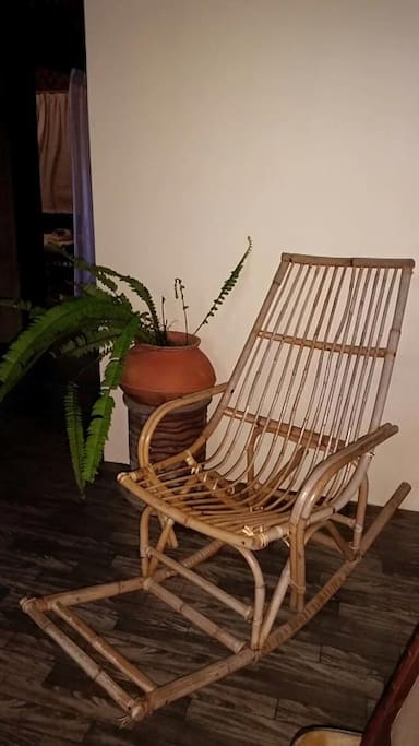 Old rattan chair for relaxing while reading