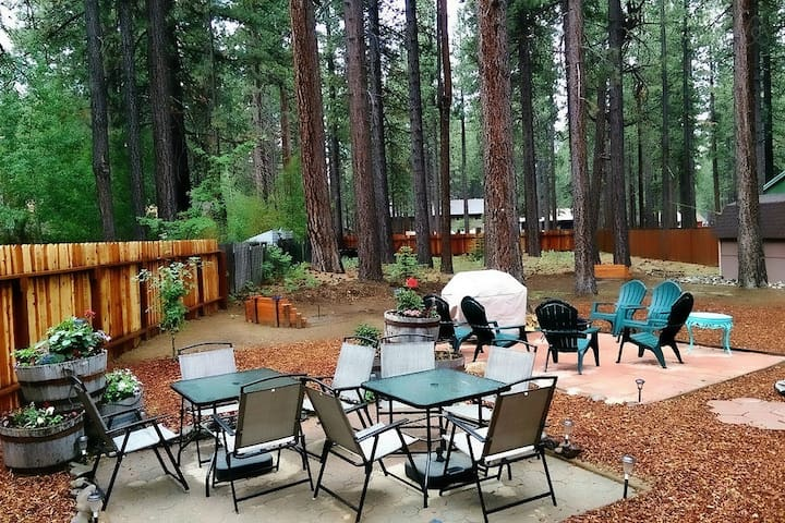 HUGE backyard with horseshoes and fire ring
