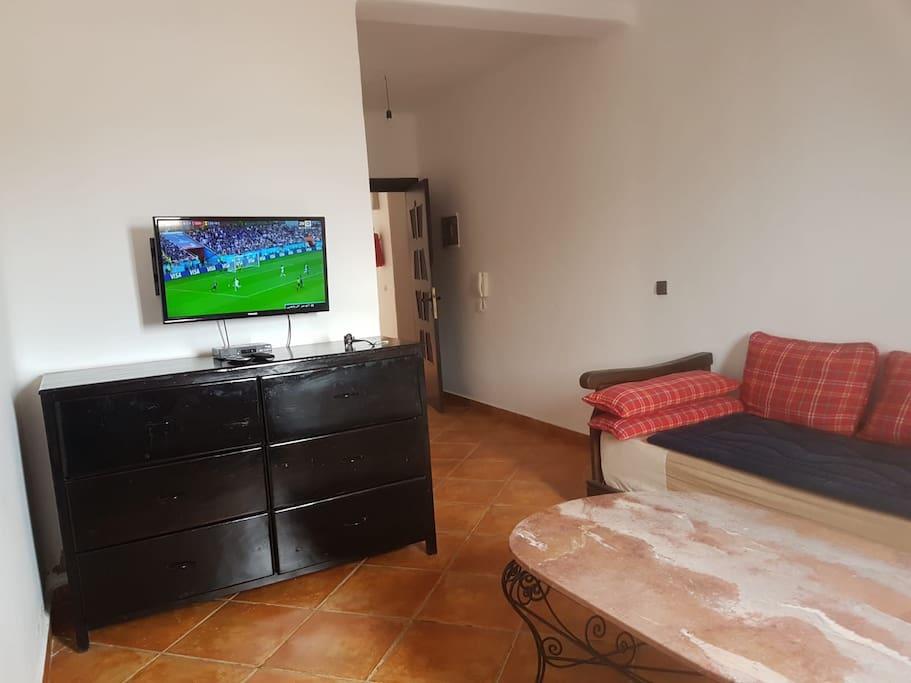Le coin salon avec table basse commode et écran plasma.