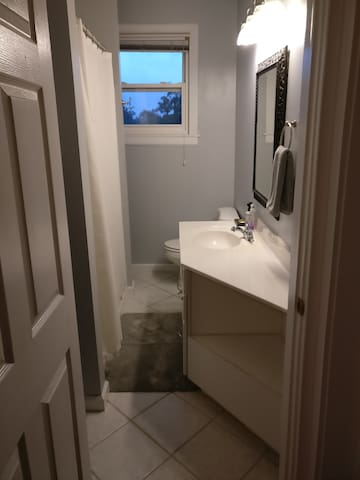 Bathroom with shampoo, conditioner, soap, hair dryer, and towels