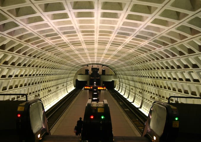 Metro= ONE stop to Convention Center, 8 stops to DCA National Airport