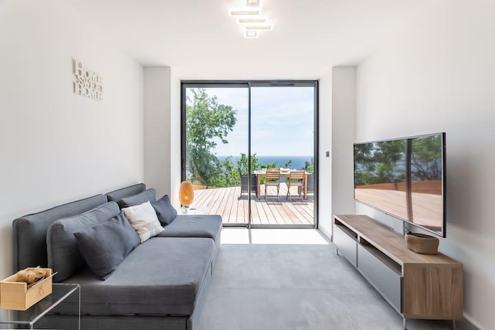 Le salon TV avec la baie vitrée carte postale et le canapé convertible