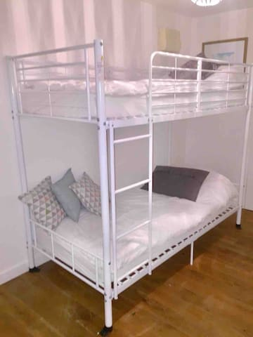Large bunk beds, new comfortable mattresses.