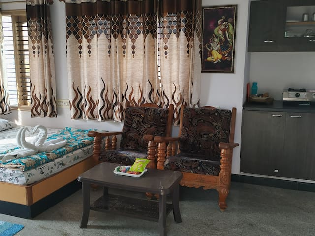Fully furnished room with a private terrace.