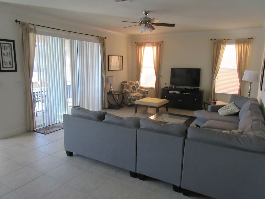 Lounge with easy access to pool area