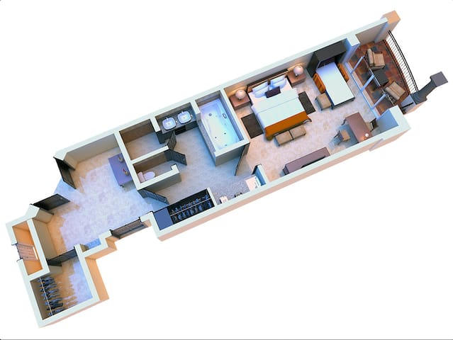 Here is a floor plan of the Junior suit, partitioned for your privacy and making it easy to share this vacation with friends.