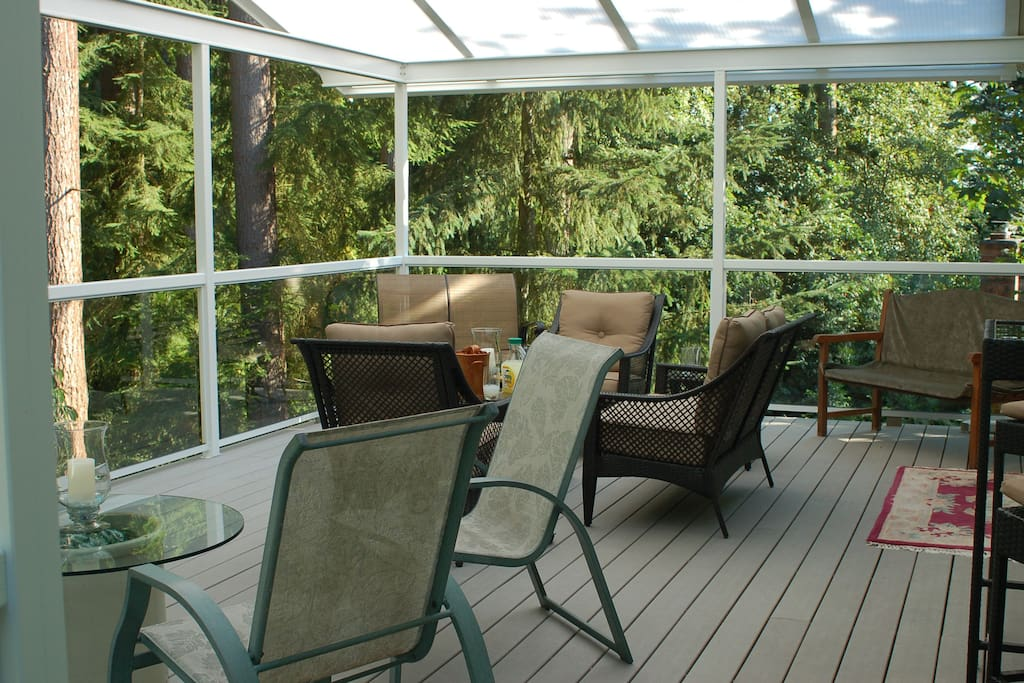 The main deck off the dining room.  Available for all guests.
