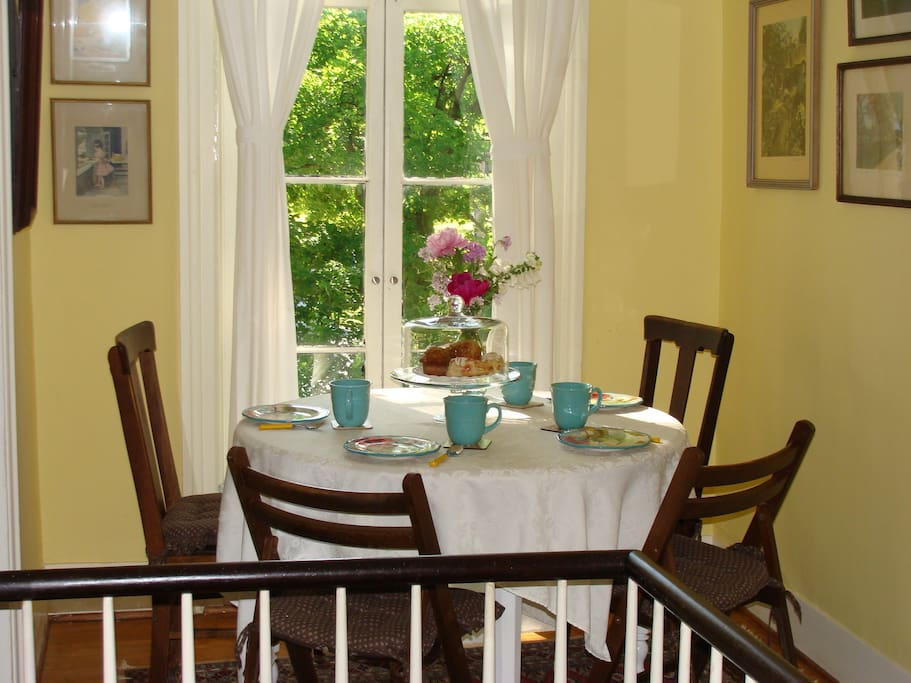 Breakfast nook for morning coffee, tea and pastries that we provide!