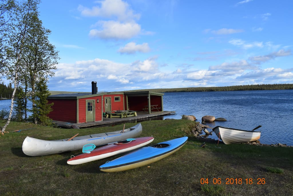 borrow boat, canoe, floating sauna  with barbeque place