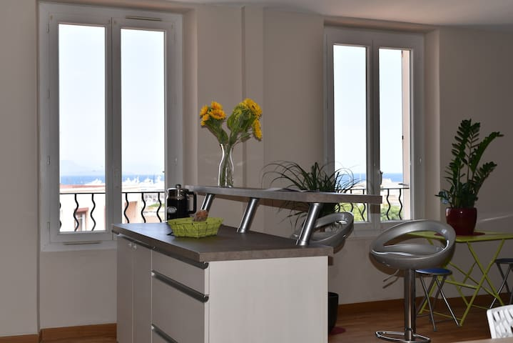 Spacious 2BR renovated Antibes center sea view