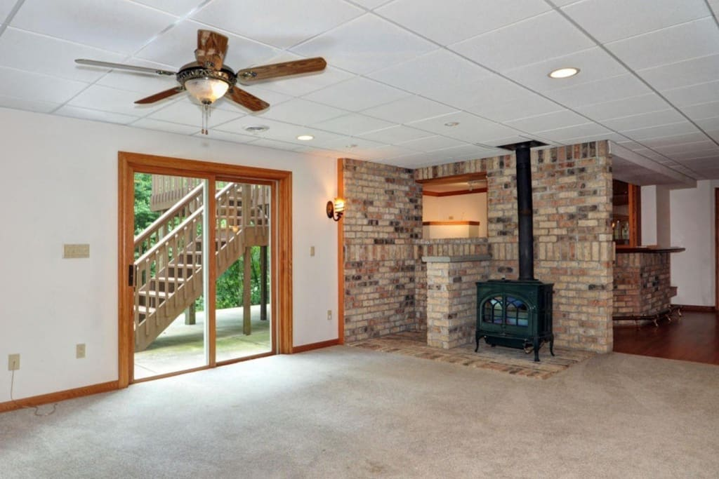 Walk-out basement with woodburner