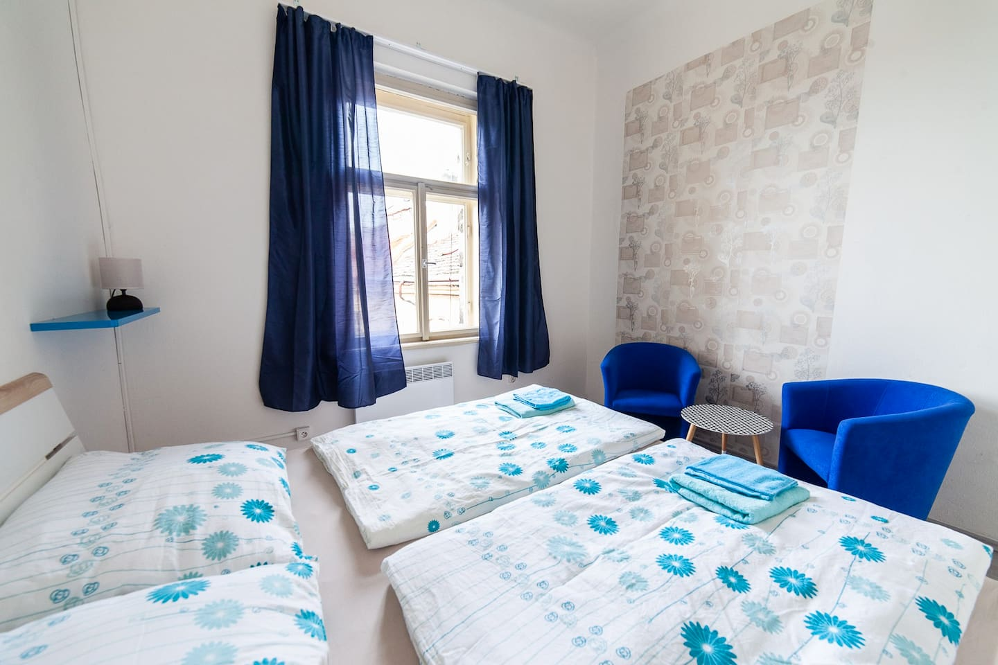 Bright and cosy room for two people with brand new furniture. The room has king size double bed, two comfy chairs with designers table. You will just love the location and the room :)