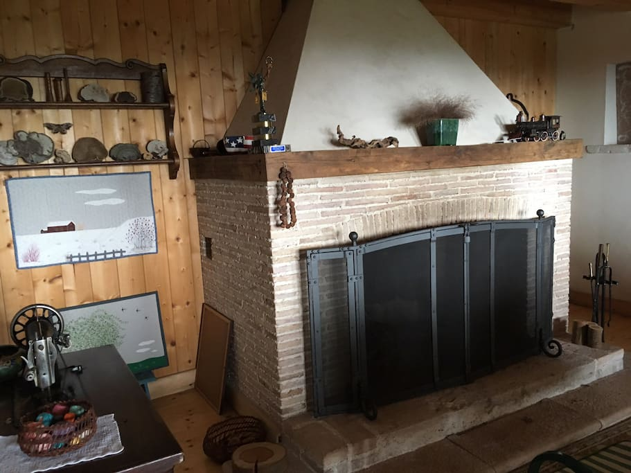 Massive fireplace for winter gatherings