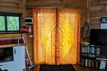 View of the front double doors from inside the yurt.