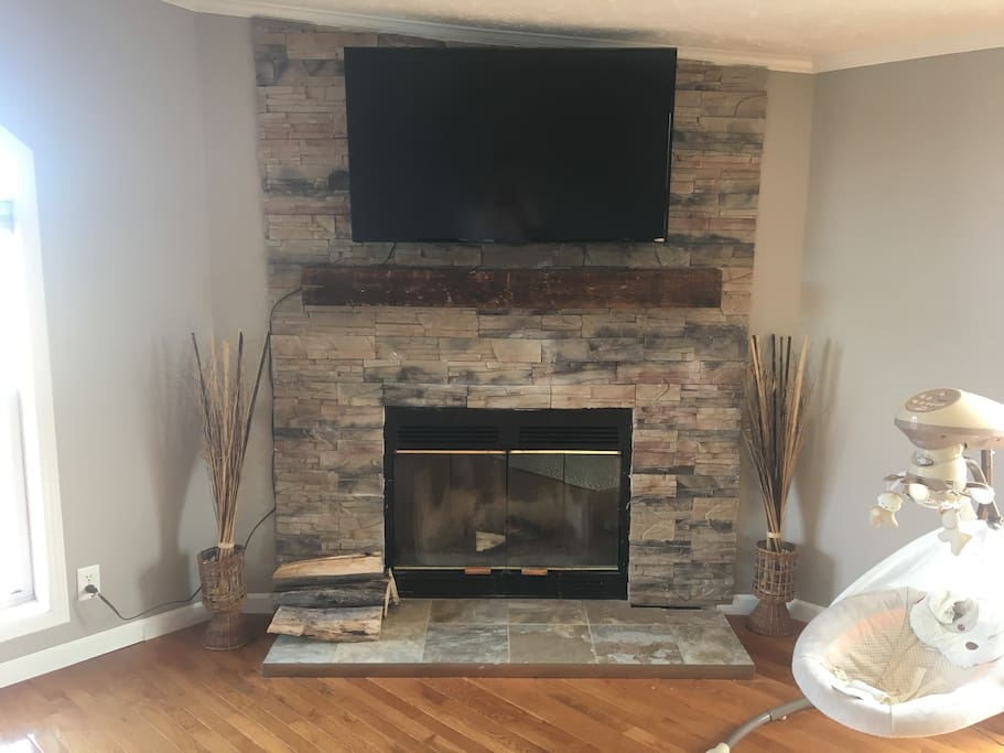Real wood fireplace