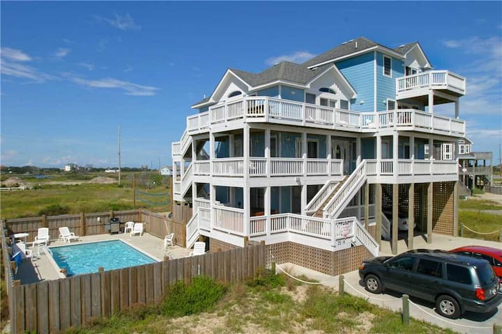 Trip Around the Sun OCEANVIEW in Hatteras w/Htd Pool&HotTub, RecRoom, Pets