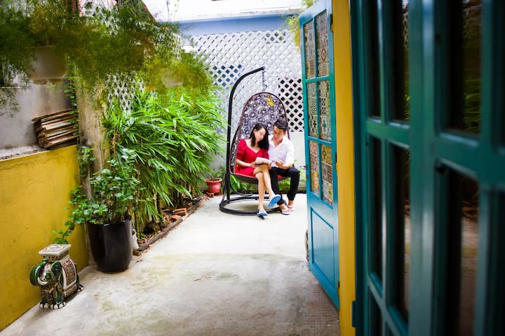 We have a small courtyard and a hammock chair so you can sit reading, relax, get into nature.