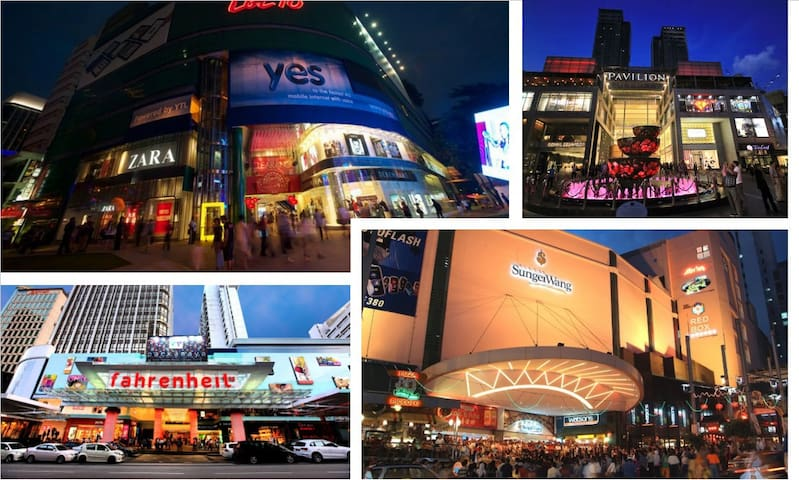 Shopping malls district within 15 mins walking distance