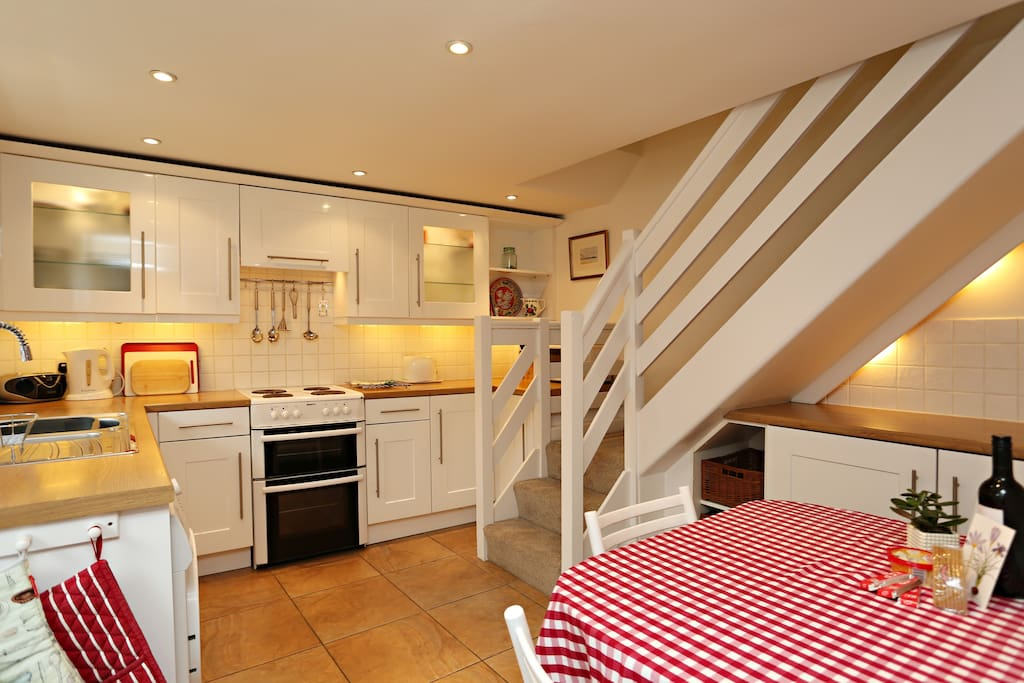 The kitchen, with dining table in foreground